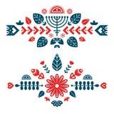 Nordboprydnader, folkkonstmodell Dekorativ sammansättning två stock illustrationer