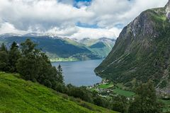 Norddal at the end of the Storfjorden, Norway Stock Images