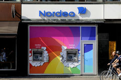 NORDE BANK ATM TURNS RAINBOW COLOURS. Copenhagen /Denmark - 15.August. 2017. Nordea Bank turns aftm in rain bow colour  during copenhagen pride in the suport for Royalty Free Stock Image