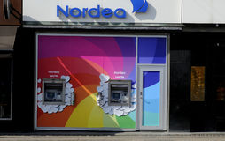 NORDE BANK ATM TURNS RAINBOW COLOURS. Copenhagen /Denmark - 15.August. 2017. Nordea Bank turns aftm in rain bow colour  during copenhagen pride in the suport for Royalty Free Stock Images