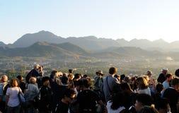 Norden-Laos: ` Phou-Si ` Bergblick zur alten königlichen Stadt Luang Prabang stockfotos