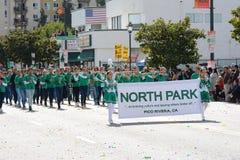 Norden parkerar, Pico Rivera, marschmusikband på Los Angeles som det kinesiska nya året ståtar arkivfoto