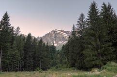 Nordend peak at sunrise in Macugnaga, Italy Stock Photo