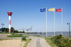 Nordenham, lighthouse and harbor royalty free stock image