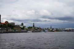 Norderelbe河在汉堡 库存照片