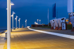 Norderney Beach Promenade At Night Royalty Free Stock Images
