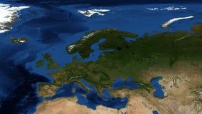 Nordeuropa från utrymmezoom arkivfilmer