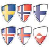 Nordeuropa-Markierungsfahnen Stockfotografie