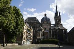 Nordfassade der Aachen-Kathedrale Stockbilder