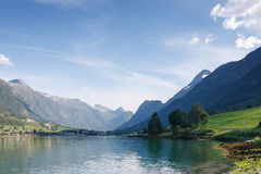 Nordfjord, Olden city, Norway Royalty Free Stock Images