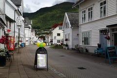 Nordfjordeyd村庄,挪威 免版税库存图片