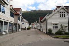 Nordfjordeyd村庄,挪威 免版税图库摄影