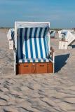 Nordfriesland. Beach chairs in Sankt Peter-Ording in Nordfriesland, Schleswig-Holstein, Germany royalty free stock image