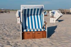 Nordfriesland. Beach chairs in Sankt Peter-Ording in Nordfriesland, Schleswig-Holstein, Germany stock photos