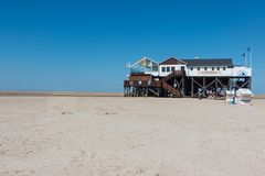 Nordfriesland. Beach at low tide in Sankt Peter-Ording in Nordfriesland, Schleswig-Holstein, Germany royalty free stock photo