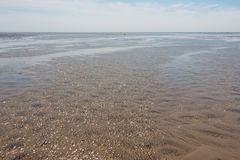 Nordfriesland. Beach at low tide in Sankt Peter-Ording in Nordfriesland, Schleswig-Holstein, Germany stock photo