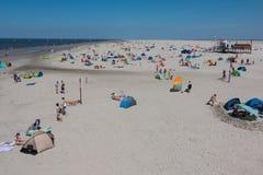Nordfriesland. Big sandbank at low tide in Sankt Peter-Ording in Nordfriesland, Schleswig-Holstein, Germany stock image