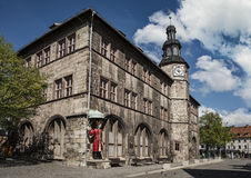 Nordhausen City Hall. With famous Roland Statue, Thuringia, Germany Stock Photo