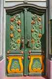 Nordhausen colorful green door in Germany. Nordhausen colorful green door in Harz Thuringia of Germany stock photo