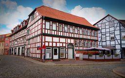 Nordhausen downtown facades in Thuringia Germany. Nordhausen downtown facades in Thuringia of Germany Stock Images