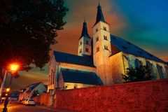 Nordhausen Holy Cross Cathedral in Germany. Nordhausen Holy Cross Cathedral sunset in Thuringia Germany Stock Photography