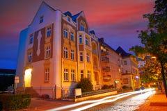 Nordhausen miasto przy nocą w Thuringia Niemcy Zdjęcie Stock