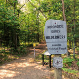 Nordhouse Dunes Wilderness Trailhead. A Nordhouse Dunes Wilderness sign at the trailhead in the Manistee National Forest in Manistee, Michigan Stock Photography