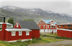 Nordic architecture. Seydisfjordur - picturesque town located in Eastfjords region of Iceland Stock Images