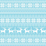 Nordic background. Background of snow crystal and reindeer. Vector illustration Stock Photo