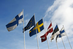 Nordic and baltic flags Stock Photography