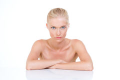 Nordic beauty with resolute glaze endorsed on her elbows Royalty Free Stock Image