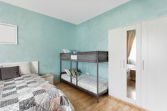 Nordic bedroom in blue color Stock Photo