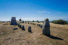 Nordic Bronze Age Grave Field In Sweden Royalty Free Stock Photography