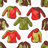 Nordic Christmas Jumper Seamless Vector Pattern. Hand Drawn Embroidered Ugly Sweater royalty free illustration