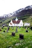 Nordic Churchyard, Mountain Scene Royalty Free Stock Photos