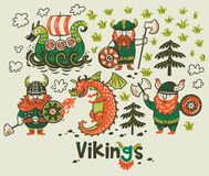 Nordic collection with vikings, dragon and ship in cartoon style. Set with three vikings, dragon and ship in cartoon style. Funny vector illustration for kids Stock Photos