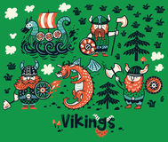 Nordic collection with vikings, dragon and ship in cartoon style. Set with three vikings, dragon and ship in cartoon style. Funny vector illustration for kids Royalty Free Stock Photography