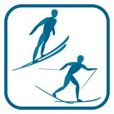 Nordic combined emblem. Two color icon of the sportsman. One of the pictogram from winter sports icons set. Vector illustration EPS-8 Royalty Free Stock Images