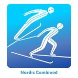 Winter games icon. Nordic Combined icon. Olympic species of events in 2018. Winter sports games icons,  pictograms for web, print and other projects. Vector Stock Photography