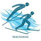 Winter games icon. Nordic Combined icon. Olympic species of events in 2018. Winter sports games icons,  pictograms for web, print and other projects. Vector Royalty Free Stock Image