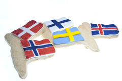 Nordic Cookies. Cookies depicting the flags of the Nordic countries, Denmark, Finland, Norway, Sweden & Iceland Stock Photography