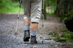 Nordic dell'uomo maggiore che cammina all'aperto Fotografia Stock Libera da Diritti