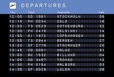 Nordic destinations. Departure board - destination airports. Vector illustration. Nordic destinations: Stockholm, Oslo, Gothenburg in Sweden, Helsinki vector illustration