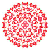 Nordic ethnic border round pattern in red color Royalty Free Stock Photography