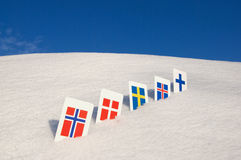 Nordic Europe country symbols Stock Images