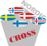Nordic flag in polygon shape. 5 shaped nordic flag in polygonal shape Royalty Free Stock Photos