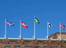 Nordic flags. Flags of the five nordic countries, Iceland, Norway, Sweden, Finland and Denmark Royalty Free Stock Image