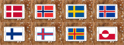 Nordic flags Royalty Free Stock Images