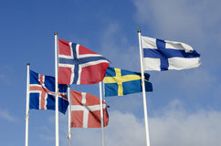 Nordic flags. Flags of the Nordic countries; Norway, Finland, Denmark, Sweden and Iceland