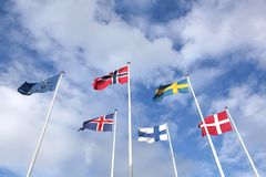 Nordic flags in the sky Royalty Free Stock Images